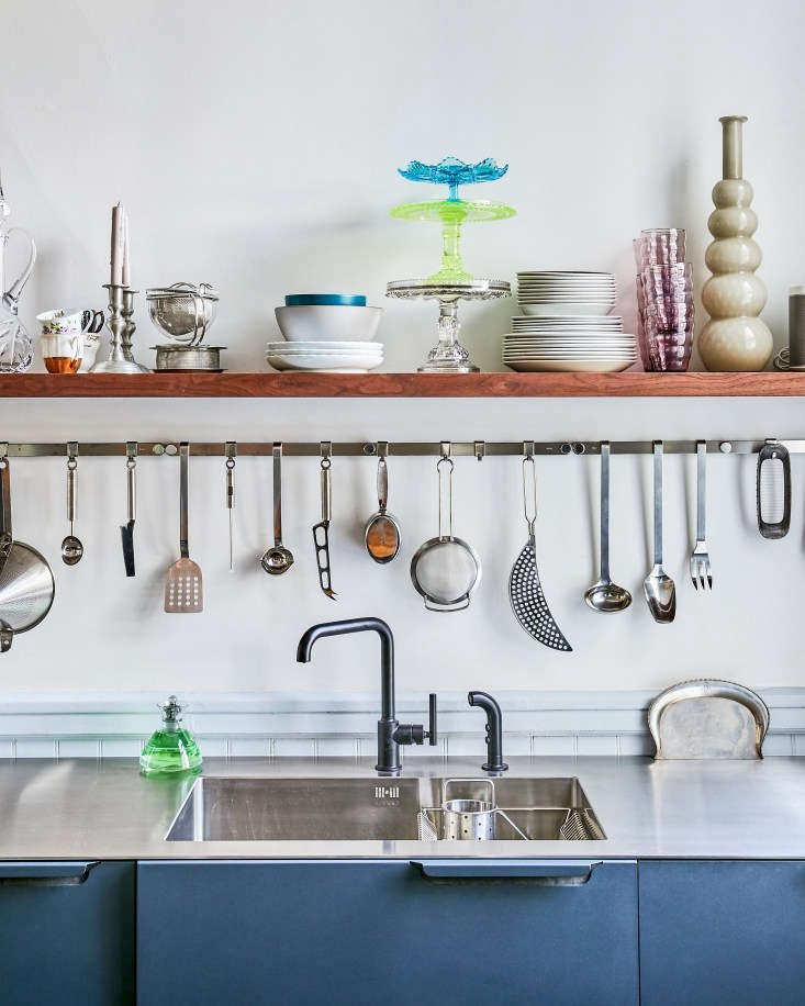 Amy had the stainless steel countertop with integrated sink shipped from Copenhagen (&#8