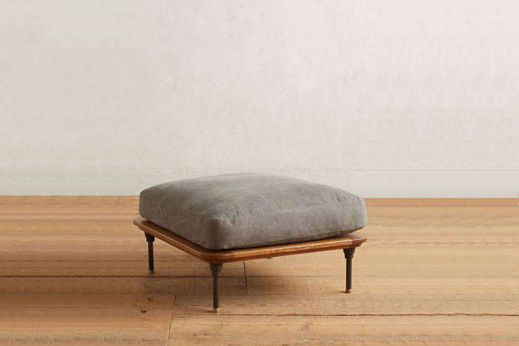 the kalmar ottoman, like the other pieces, is anchored by blackened steel legs  13