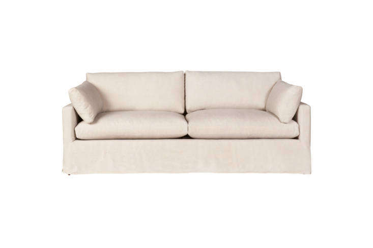 Sofas from Cisco Brothers are made with hardwood frames and feather/down/fiberfill. They&#8