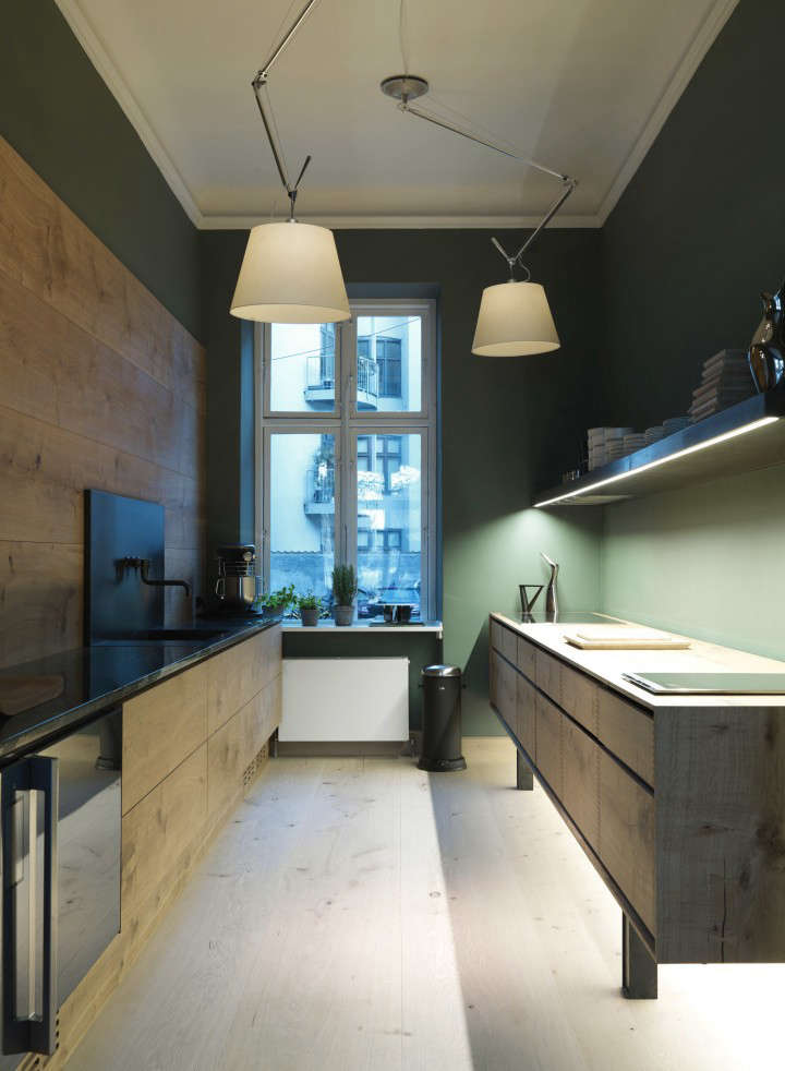 Trend Alert 10 Favorite TimeTested Dark Green Kitchens The Dinesen Kitchen series is a collaboration between the venerable Danish flooring makers and kitchen designersGarde Hvalsøe. This one, in Dinesen&#8\2\17;s Copenhagen showroom, has walls painted in a deep, mossy green. See the rest inKitchen of the Week: The Dinesen Wood Kitchen. Photograph courtesy of Dinesen.