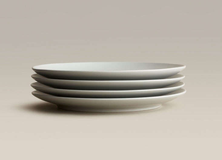 a stack of four small plates, suitable for salad and dessert, in fog; \$44 for  10