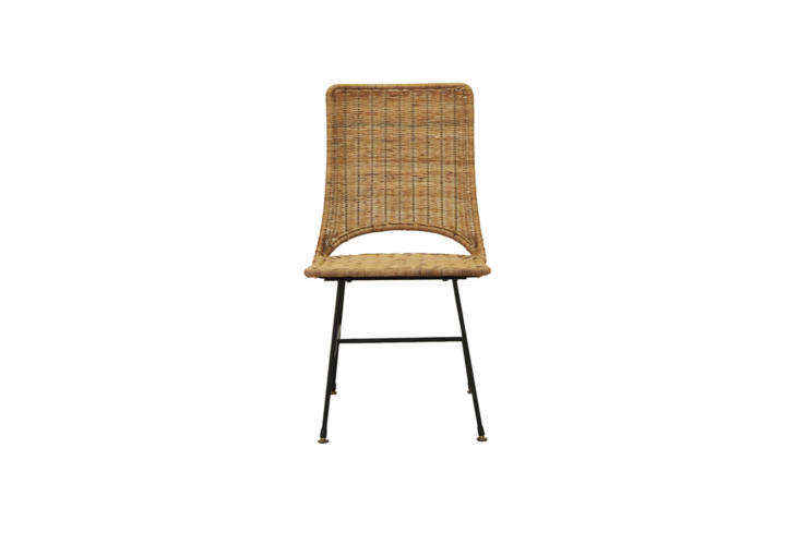Custom rattan side chairs were commissioned from Fong Brothers Co. For an off-the-shelf option, the company makes theOlive Side Chair in woven arurog and steel. Contact Fong Brothers Co. for more information.