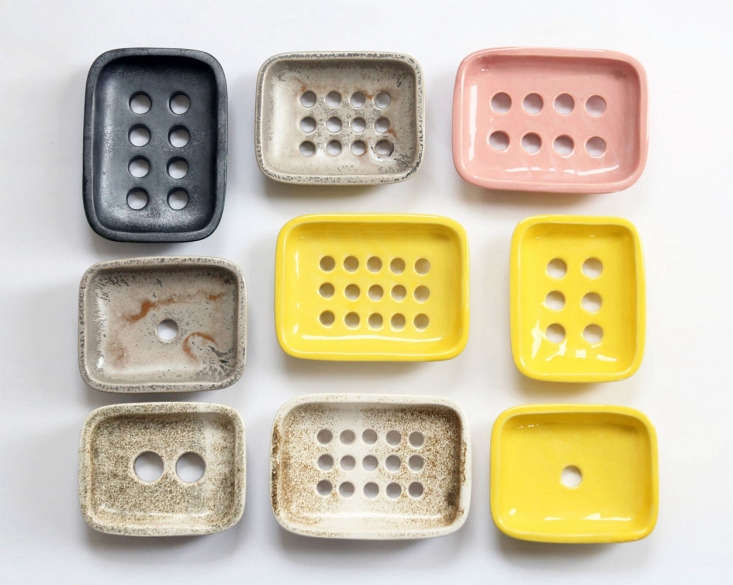 A look at the soap dish glaze colors and different configurations of drainage holes. Proper drainage in a soap dish keeps the bar from getting soggy and breaking down quickly.