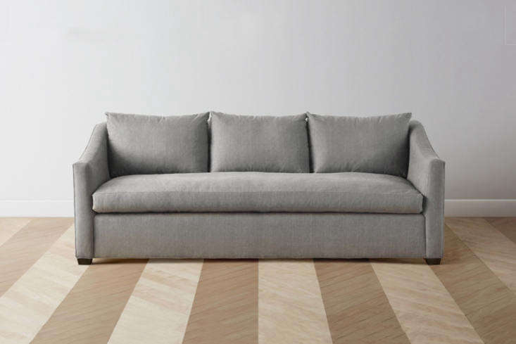 From new sofa company Maiden Home, theSullivan Sofa has a wood frame, goose down, fiberfill, and hand-tied springs, and comes in 37 fabric/color options and four wood finish options; $
