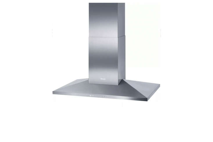 The Miele 40-Inch Island Mount Chimney Hood is a convertible vent with an internal blower and stainless steel chimney housing; $3,099 at AJ Madison.