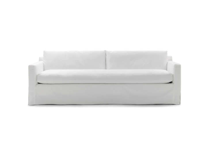 The Mitchell Gold & Bob Williams Hunter Long Slipcovered Sofa, shown in denim and measuring 90 inches, is $