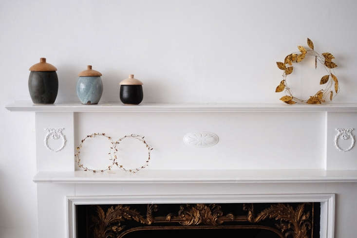 On the mantel: metal Leaf Garland (currently sold out online) and Small Leaf Garland (£).