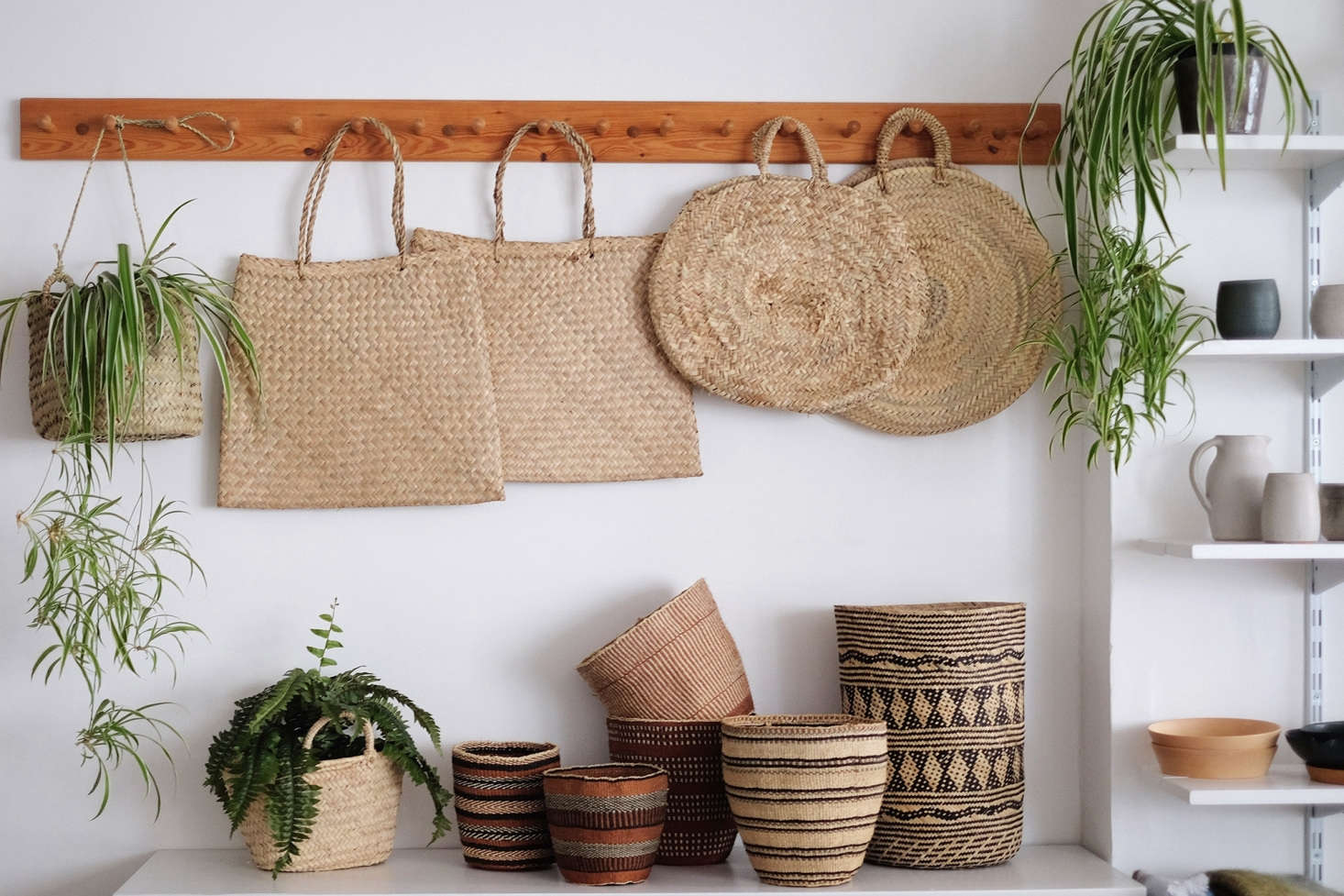 Handmade woven bags and baskets include a Round Basket (£3