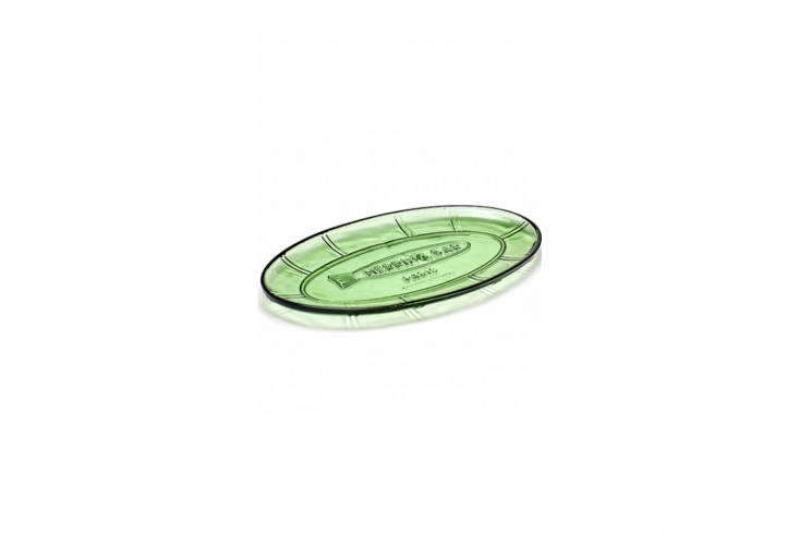 the fish & fish small oval dish in transparent green glass is €\27.57. 10
