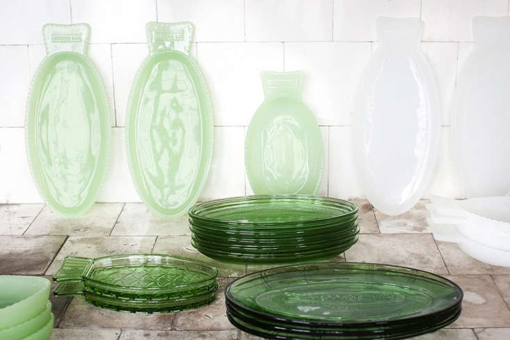 the collection of fish plates in transparent, jadite, and milk glass. 9
