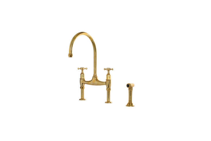 Steal This Look A ShakerStyle Kitchen in Full Color The Perrin & Rowe Ionian Taps with crosshead handles in deVol aged brass is £480, or £680 with rinser as shown at deVol. See more atFound: The Perfectly Aged Brass Kitchen Faucet.