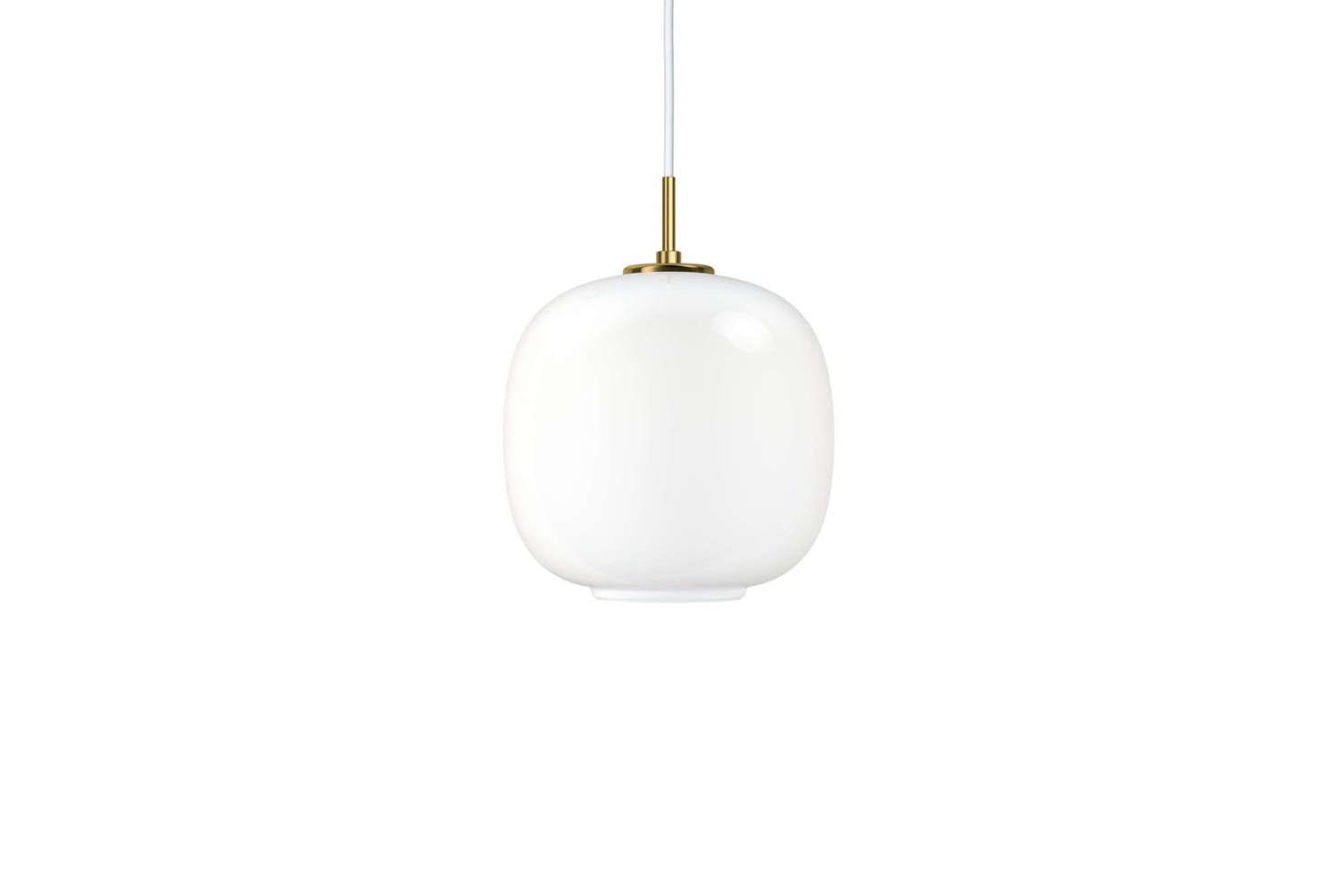 :Each Radiohus pendant is made of three layers of handblown glass, with the innermost and outermost layers made of transparent polished glass, with white glass for the middle layer. The Large VL45 Radiohus Pendant is $830 and the Small VL45 Radiohus Pendant is $6 at Y Lighting.