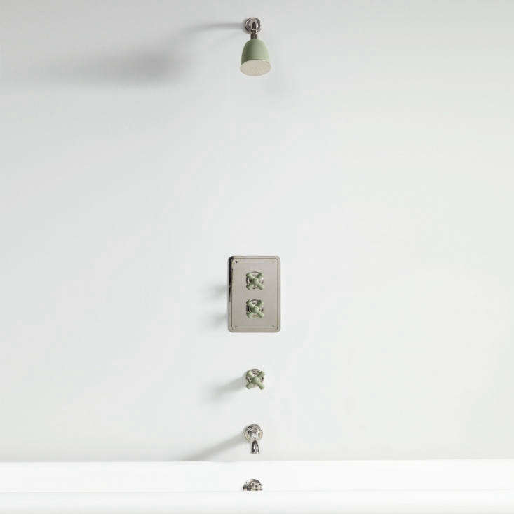 The Rockwell Concealed Shower Type D, shown in Willow Green, features a wall-mounted shut-off valve; £loading=