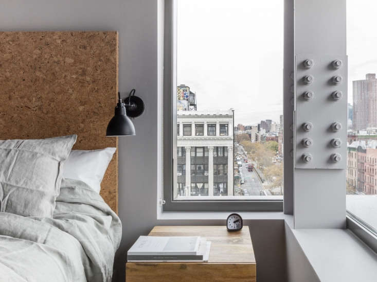Rooms have prime views down Allen Street to the financial district.