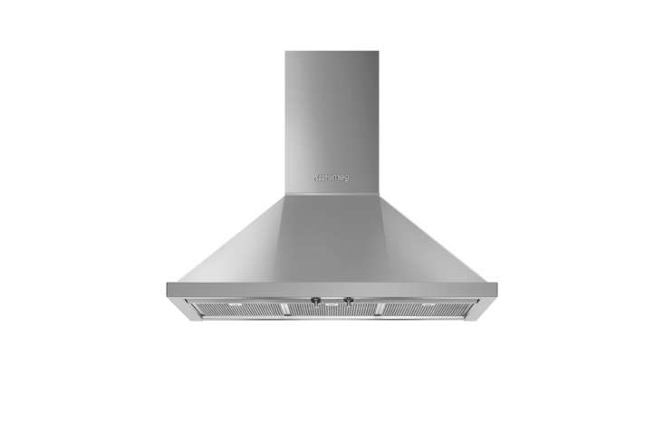 "The new Smeg 36"" Portofino Chimney Hood is coming soon in stainless steel (shown), and is available in a range of colors for $loading="