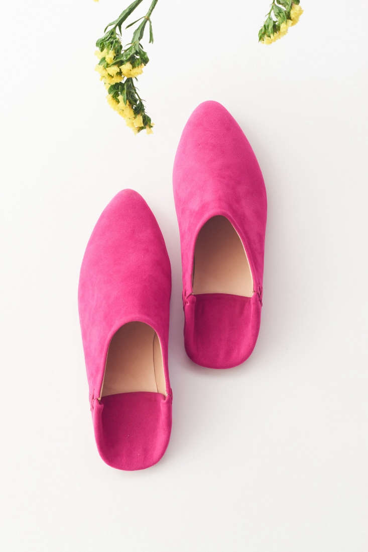 TheseBalgha Slippers (also known as babouches) have a body of brightly dyed pink suede with natural leather soles.They are made by hand in the Tunis medina by a fifth-generation shoemaker; $64.