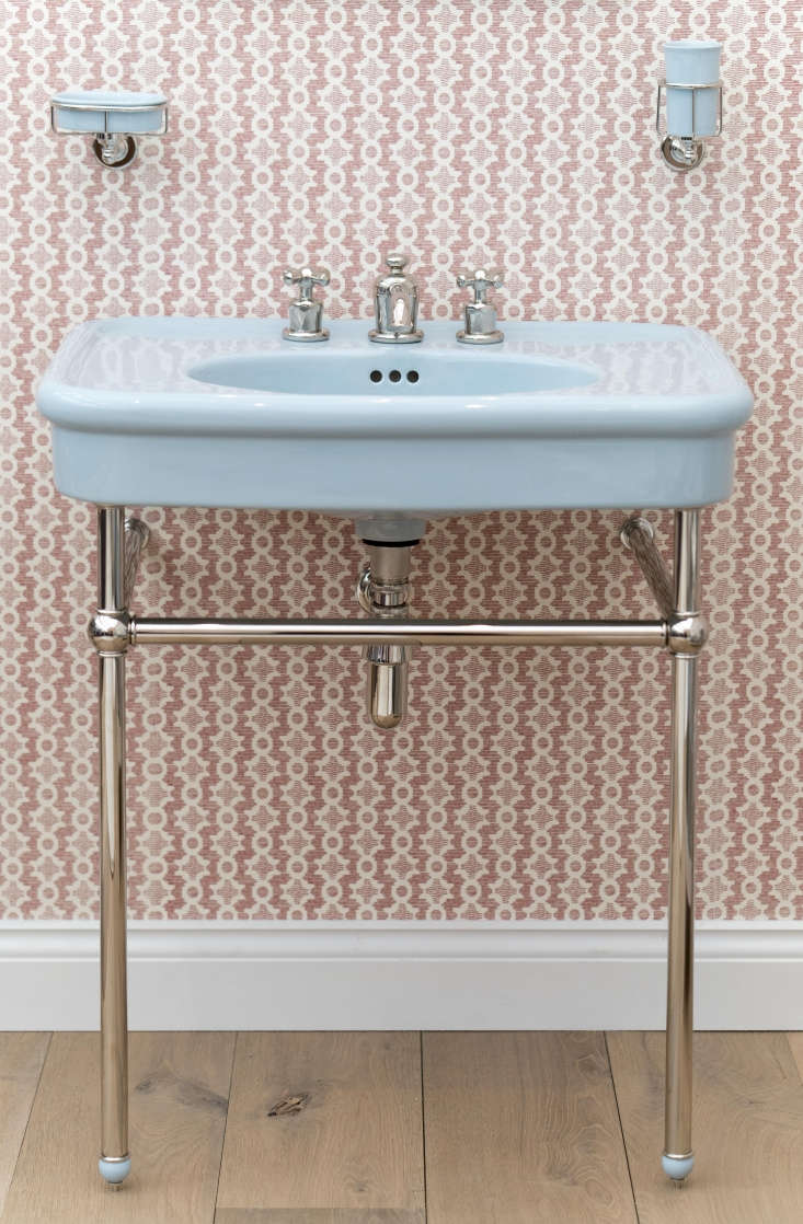 Retro Bath Fixtures in Retro Colors from the Water Monopoly The Colored Rockwell Basin, is available in Powder Blue (shown), Willow Green, and Sherbet Yellow; £\1,5\15.