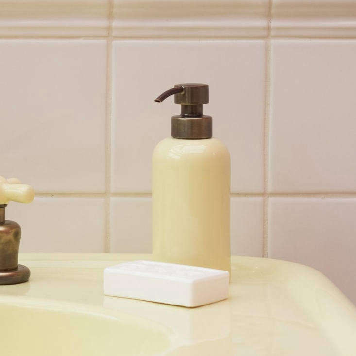 Retro Bath Fixtures in Retro Colors from the Water Monopoly Fixtures can be paired with accessories such as the Colored Rockwell Liquid Soap Dispenser, shown in Sherbet Yellow but available in all colors; £\2\26.