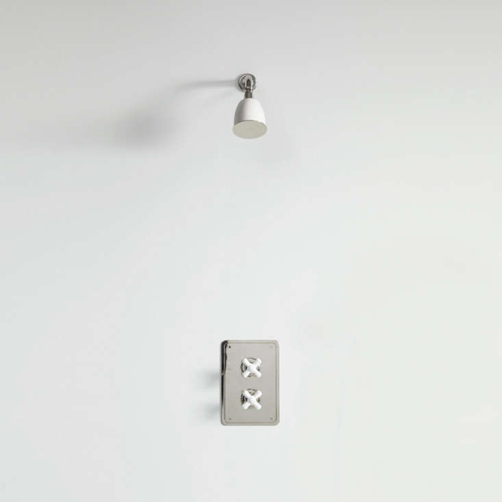 The Rockwell Concealed Shower Type A, shown in Snowdrop White, is the simplest of wall-mounted shower fixtures; £loading=
