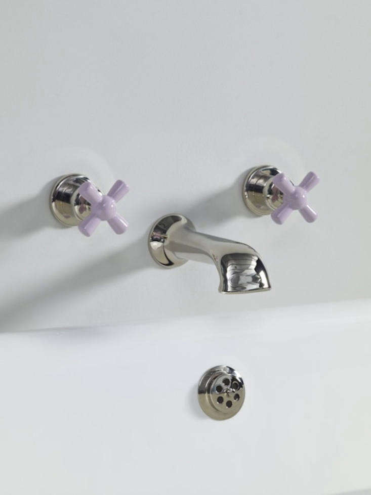 Retro Bath Fixtures in Retro Colors from the Water Monopoly The Rockwell Wall Mounted Bath Cast Spout, shown in Bonbon Lilac, is £640.