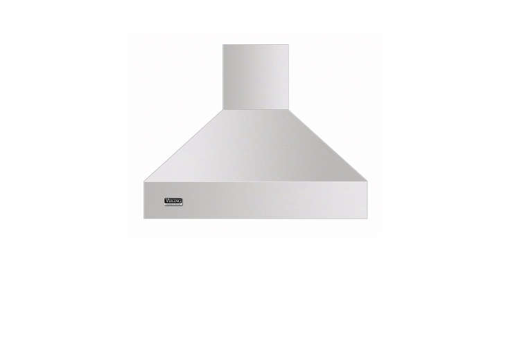 The Viking Professional 5 Series 36-Inch Island Mount Chimney Range Hood comes in stainless, Black, White, Apple Red, Graphite Gray, Cobalt Blue, and Burgundy ($