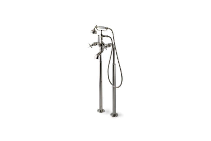 The Highgate Deck Mounted Exposed Tub Filler paired with the Universal Pair Floor Unions both in un-lacquered brass are $loading=