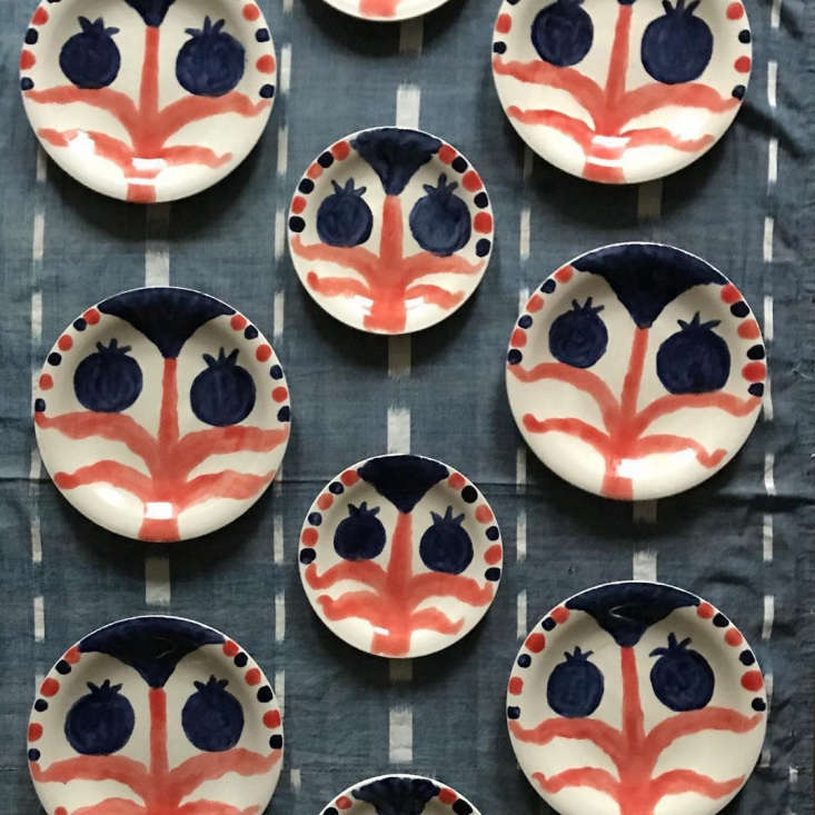 A commission to create a wall of plates for an art collector led Pate to start creating hand-painted ceramics. He now rents kiln space at Choplet in Brooklyn and sells his work himself: &#8