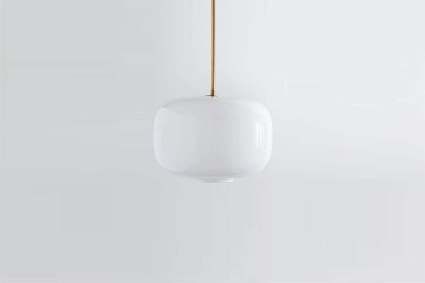 The large Sculptural Glass Pebble Lamp with milk glass shade and brass canopy is $src=
