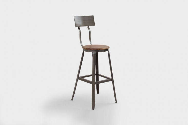 The Hudson Pub Stool is an off-the-shelf version of the vintage adjustable bar stools that Roberts sourced for the kitchen. The stools are $9.99 at World Market.