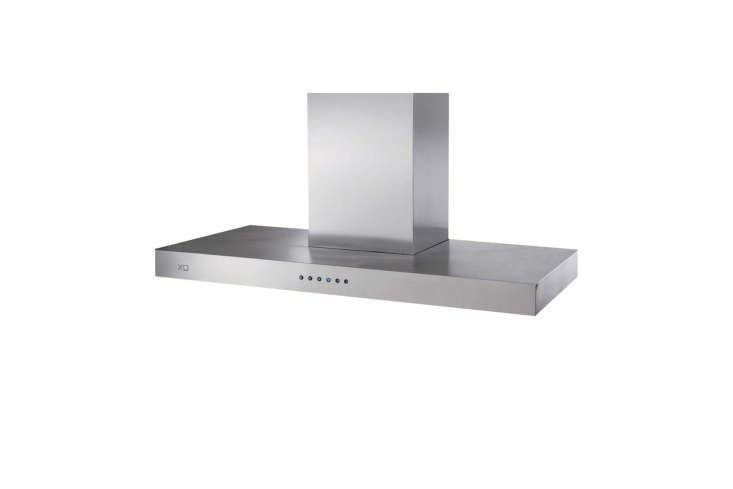 The XO Low Profile Range Hood Island Mount Chimney in stainless steel has a 600 CFM motor and three-speed blower; $loading=