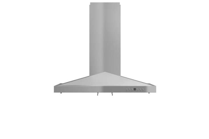 The ZLine 36-Inch 760 CFM Convertible Island Range Hood comes with an adjustable chimney and the option for ductless venting with carbon filters; $6loading=