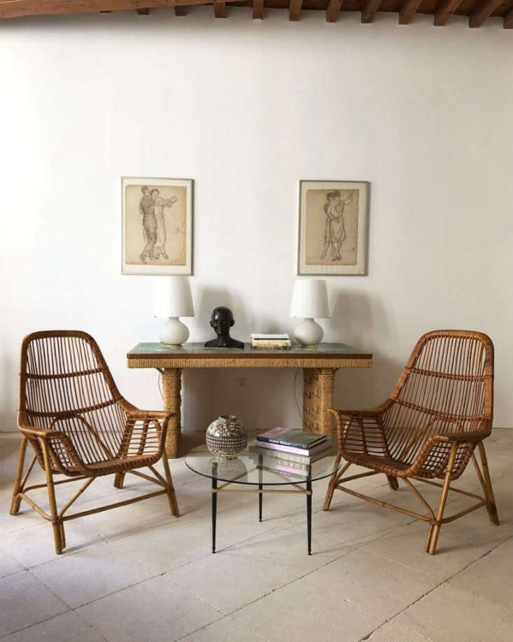 Atelier Vime has an ever-changing inventory of vintage French rattan designs in good condition and with original patina. Prices are all on request. Currently on offer, this pair of Georges Coslin Rattan Chairs with Coffee Table, designed in 56.