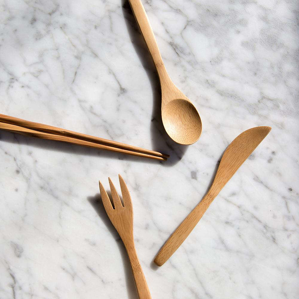 To bypass plastic utensils, Singer advocates carrying your own, such as this lightweight set of bamboo To-Go Ware; $.95.
