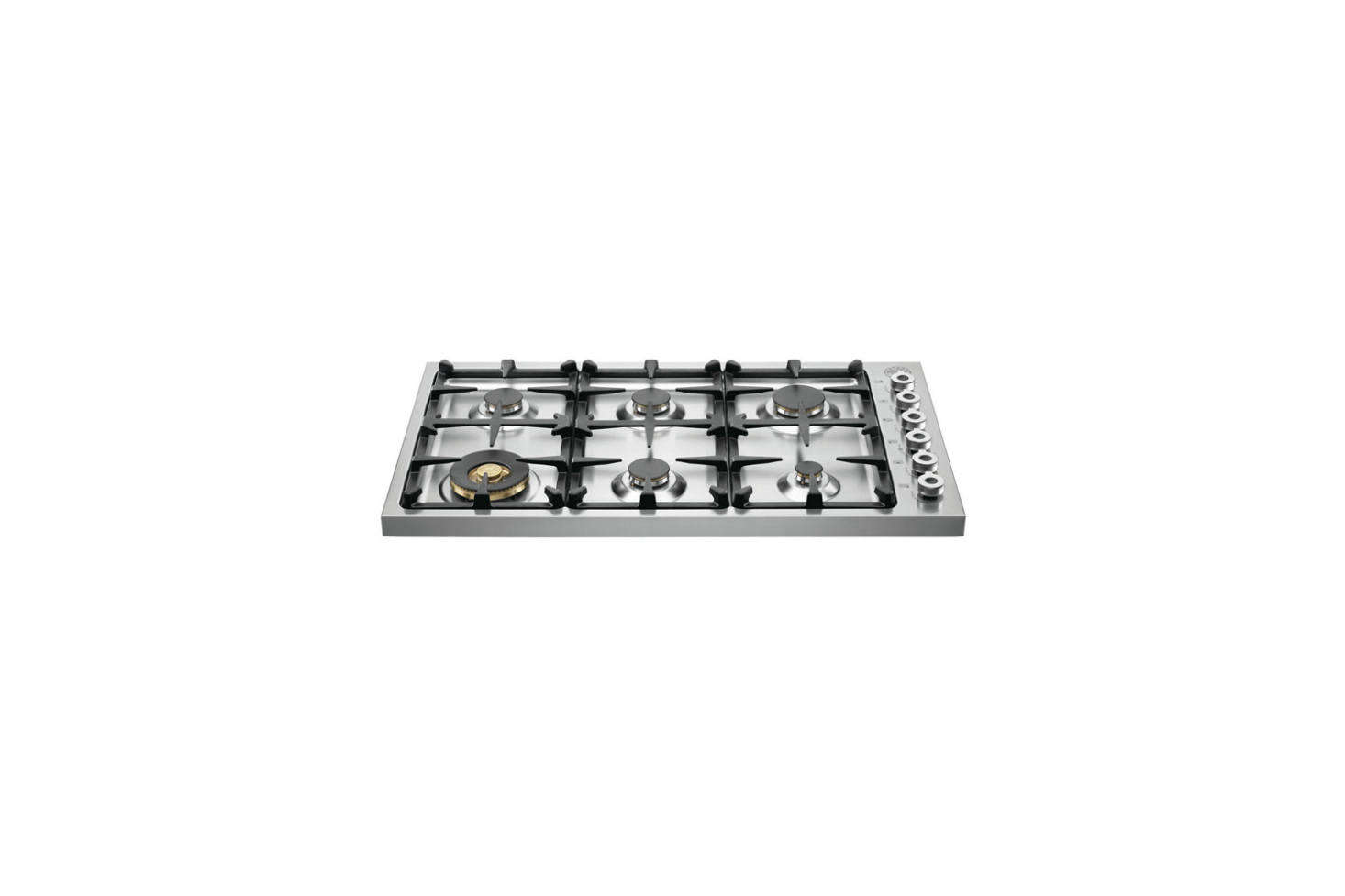The island cooktop is a Bertazzoni Professional 36-Inch Drop-In Gas Cooktop (DB36600X); $src=