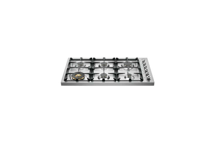 The island cooktop is a Bertazzoni Professional 36-Inch Drop-In Gas Cooktop (DB36600X); $loading=