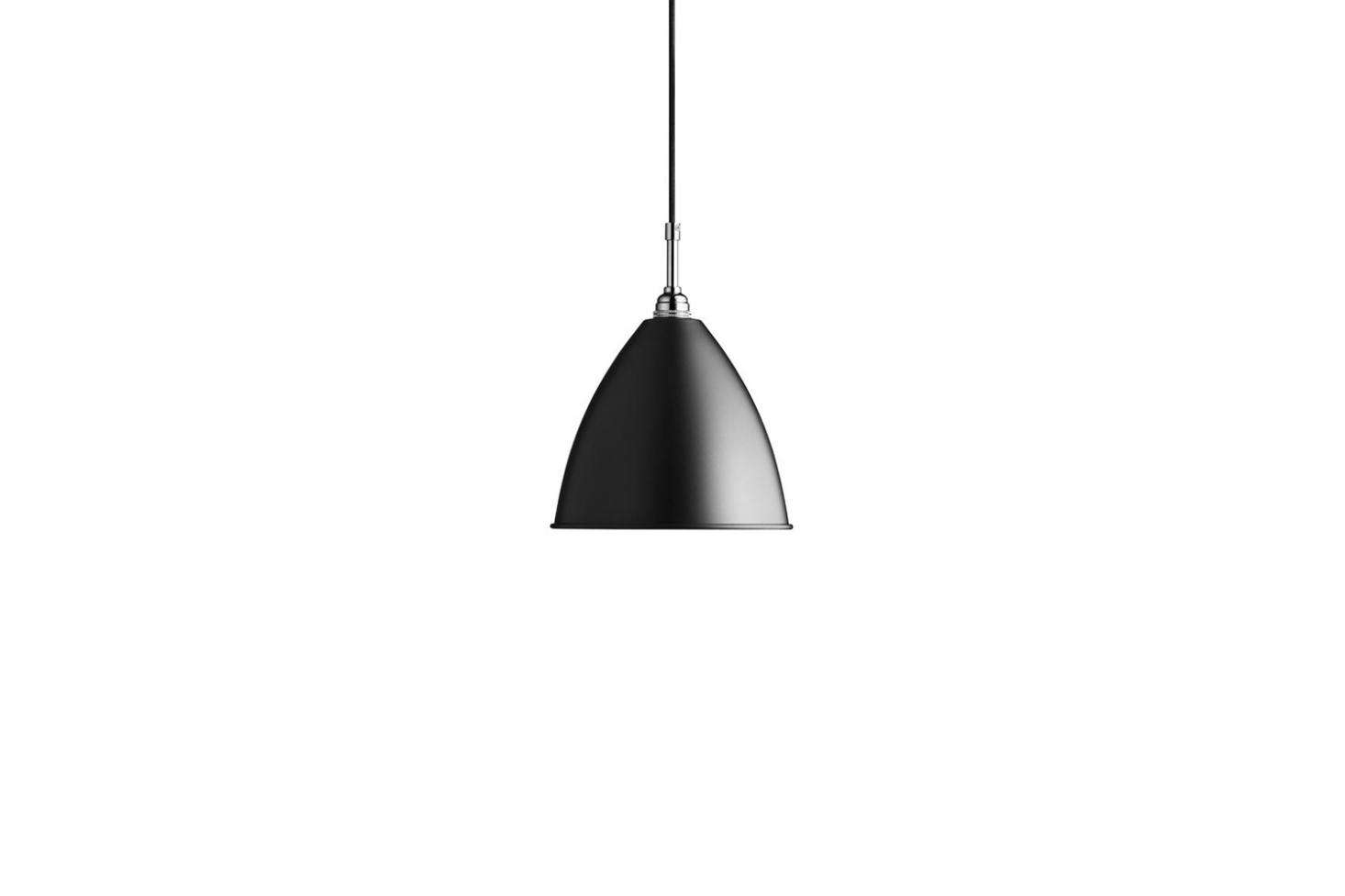 The pendant lights in the kitchen are Bestlite BL9M Pendants in chrome and matte black; $369 at Horne.