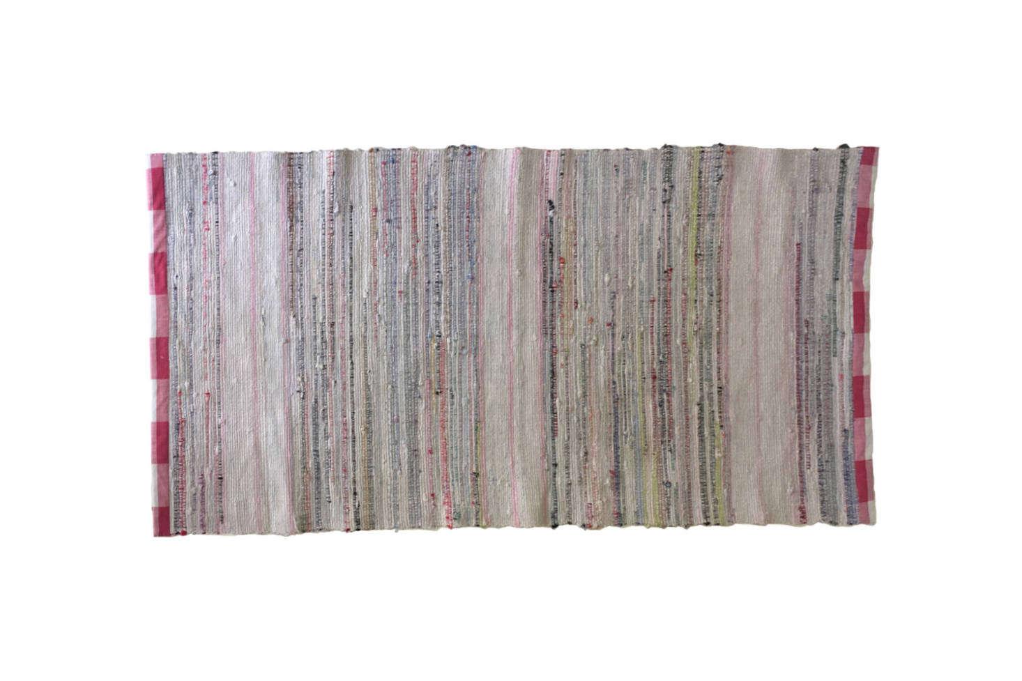Izabella sourced a Swedish rag rug for her kitchen. She cites a similar Swedish Rag Rug for $73. from Beyond France Ltd Vintage on Etsy.