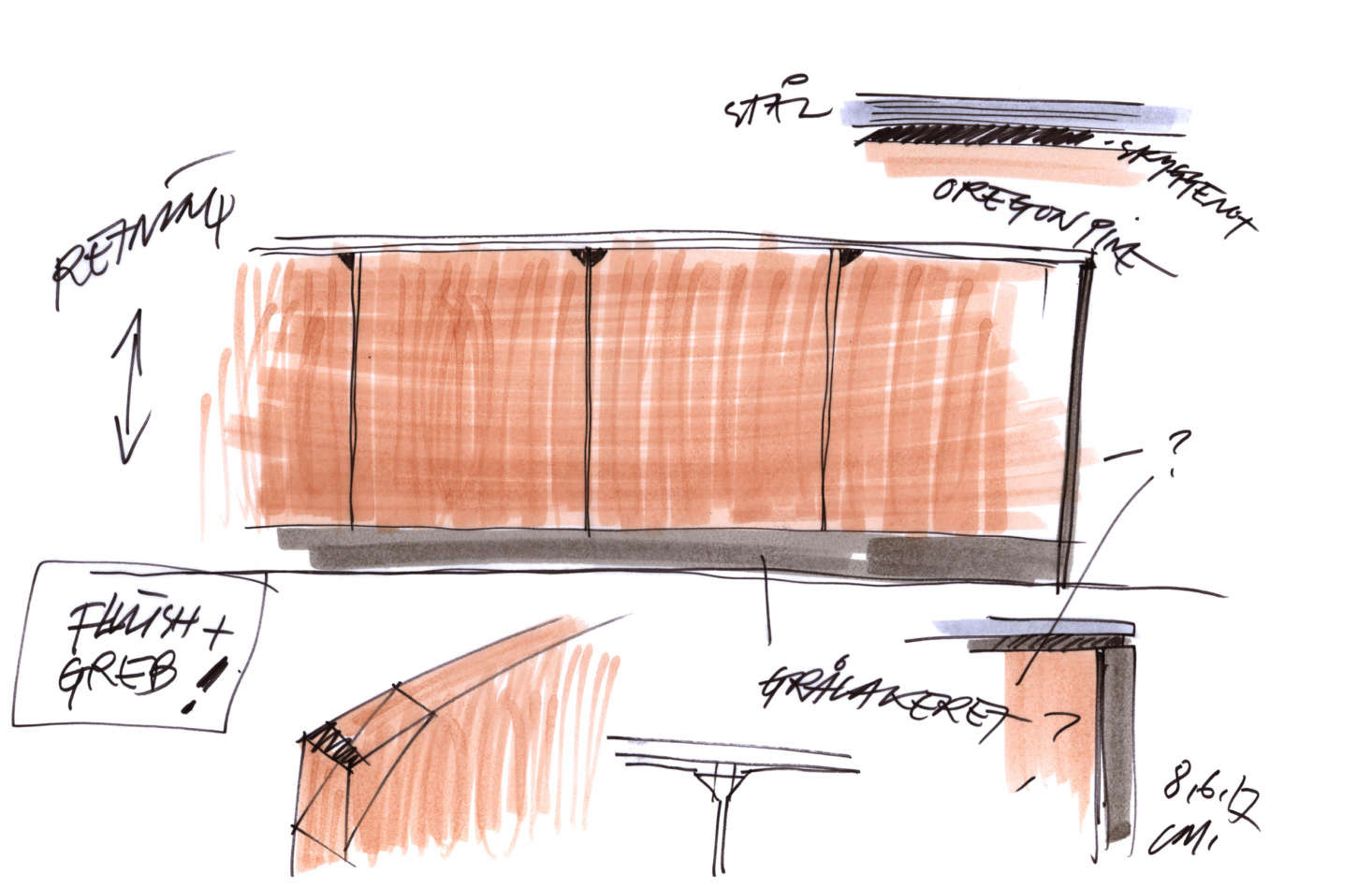 A sketch details Oregon pine, the counter&#8