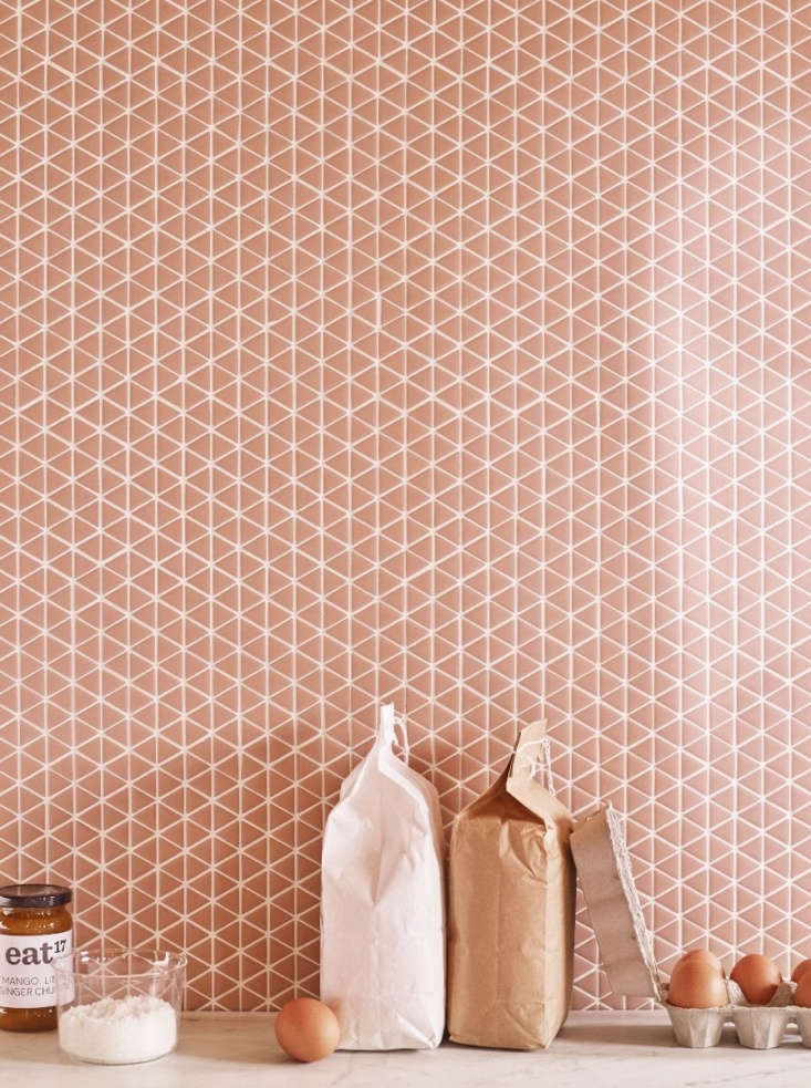 Recycled glass Confiserie series tile comes in two mosaic shapes (chevron and triangle) in four matte colors (including theBlush shown here). It arrives as an loading=