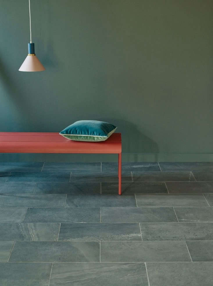 Porcelain Lakeland tile is made in Italy and printed to look like stone from northern England. Designed for floors but suitable for all surfaces, it comes in loading=