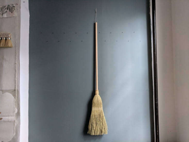 TheSimple Broom has a maple wood handle treated with natural soap.