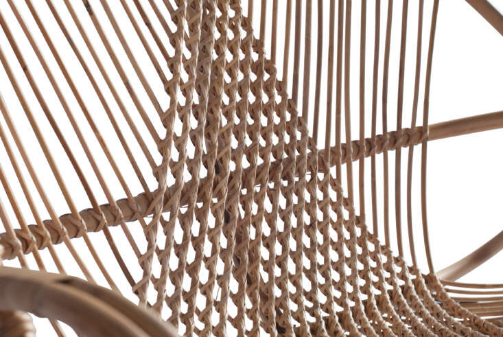 A detail of the twisted and woven back on the diamond settee.