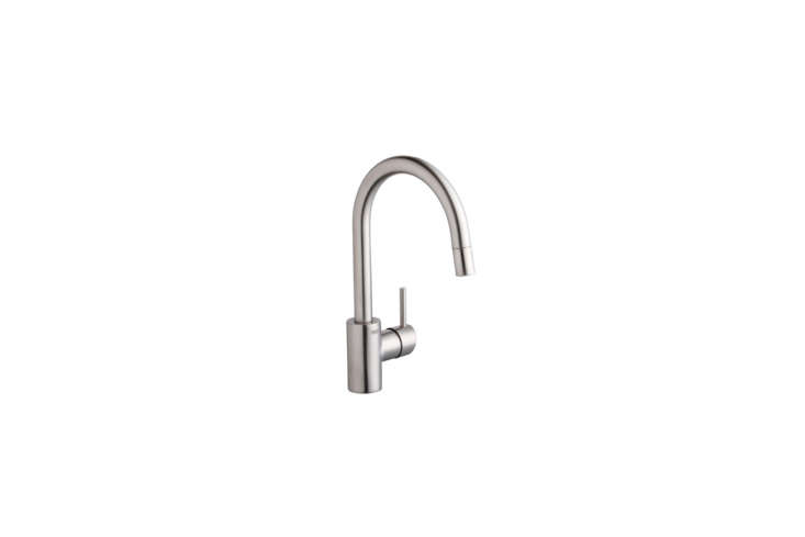 Izabella first wrote about her kitchen faucet decision in High/Low: Dornbracht vs. Grohe Kitchen Faucet. Spoiler alert: They went with the Grohe, the Concetto Single Handle Pull-Out Spray Faucet for $39loading=