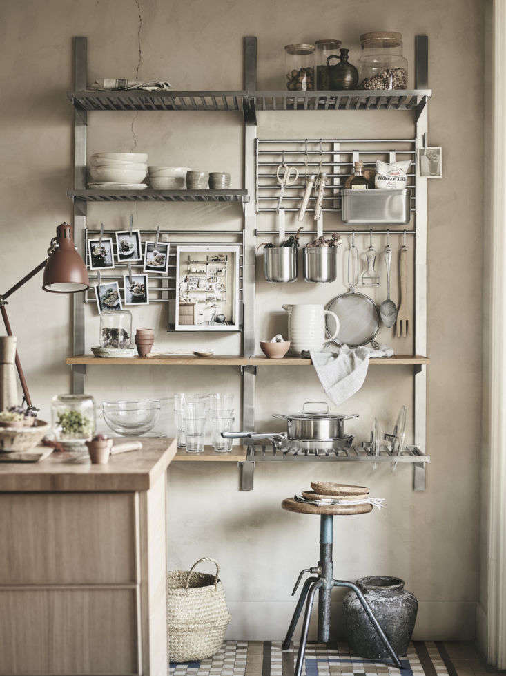 Ikea has turned an eye toward sustainability with its new spring offerings. Among our favorites: the commercial kitchen-inspired Kungsfors wall shelving unit designed in collaboration with Swedish vegan chef Maximilian Lunden. See more inSmart and Sustainable: Our Favorite Spring Offerings from Ikea.