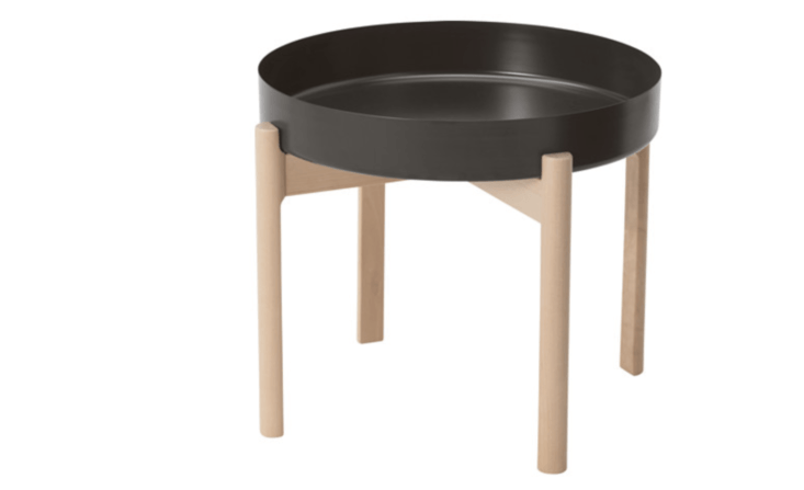 Designed by Hay for Ikea, the Ypperlig Coffee Table has a birch base and a dark gray epoxy/polyester-coated steel tray top; $39.99.