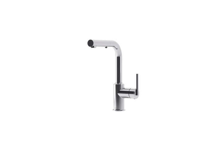 The Kalia Cite Surfer Pull-Out Kitchen Faucet in chrome (shown) or stainless steel PVD is $464 to $568 at YLiving.