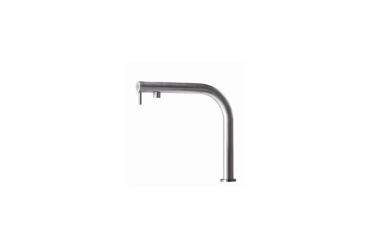 The Nemo RH Kitchen Faucet in stainless steel from Milanese company MGS Faucets is available in a matte or polished finish; $loading=