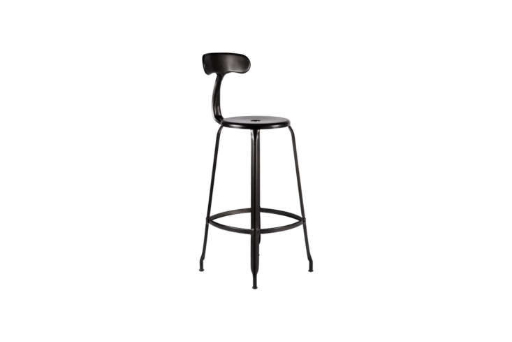 The Nicolle Counter Stool in matte black is $369 at Rejuvenation. For more on the counter stool, see our post Design Sleuth: Industrial Kitchen Stools from Nicolle in France.