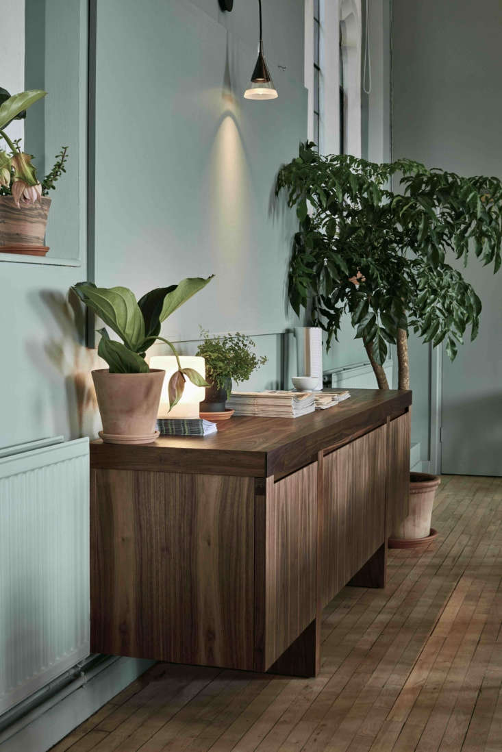 One of twoLevistico Sideboards from Riva , perched beneath Artemide&#8
