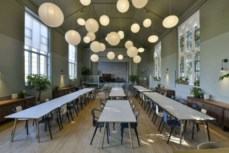 With Crawford and Bottura at the helm of the project, a number of big players in the design world donated materials—including Mutina (furniture), Mylands (paint), andRoyal Doulton (tableware). Vitra donated 60 Belleville dining chairs (designed by theBouroullec brothers) from their own cafe in Germany.